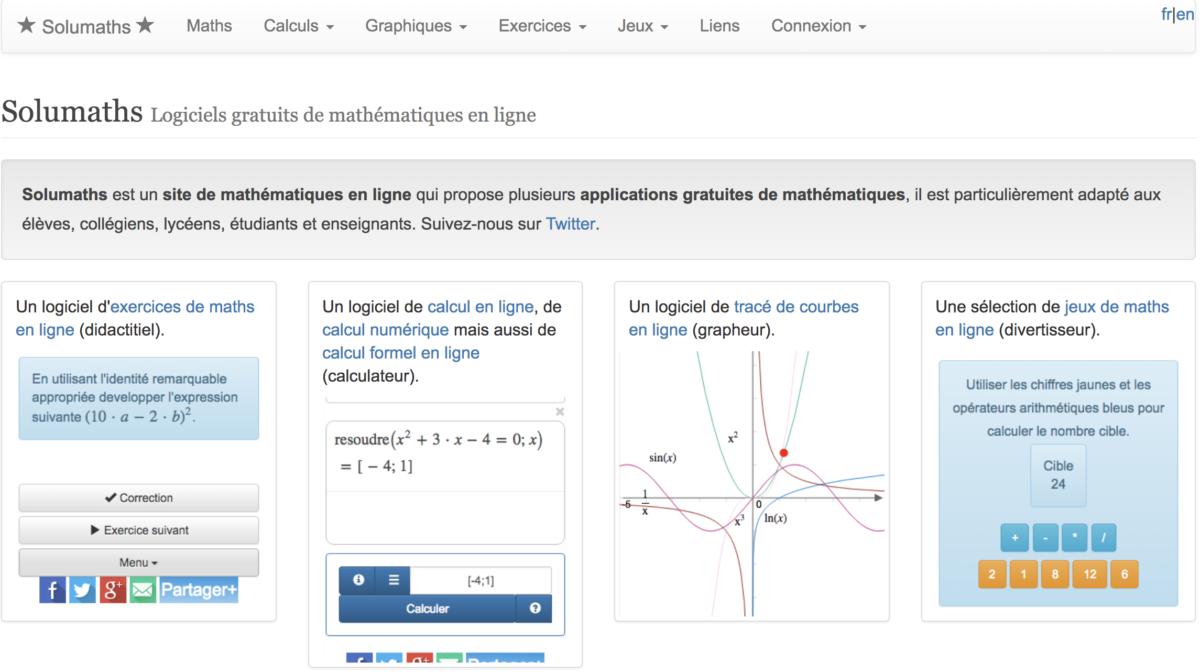 Capture d'écran du site Solumaths
