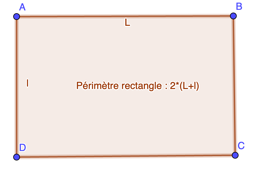 Formule de calcul du périmètre rectangle