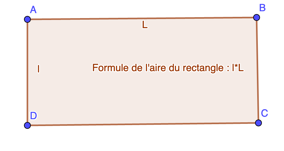 Formule de calcul de l'aire du rectangle.